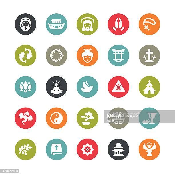 ilustraciones, imágenes clip art, dibujos animados e iconos de stock de relacionados con iconos vectoriales de la religión/ringico serie - corona de espinas