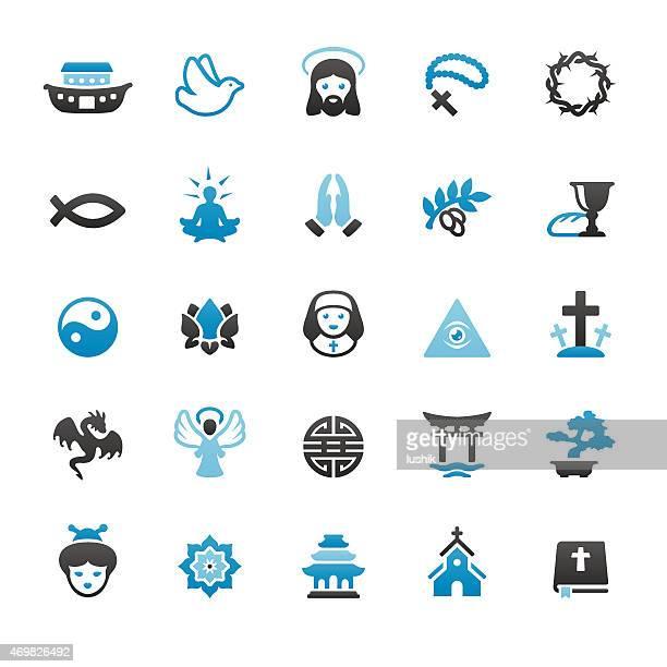 ilustraciones, imágenes clip art, dibujos animados e iconos de stock de con iconos vectoriales de la religión - corona de espinas