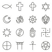 Religion Symbols Icons Thin Line Vector Illustration Set