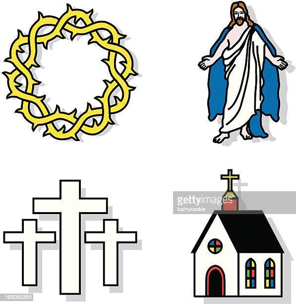 ilustraciones, imágenes clip art, dibujos animados e iconos de stock de religión - corona de espinas
