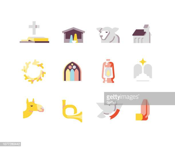 religious christmas icons - biblical event stock illustrations