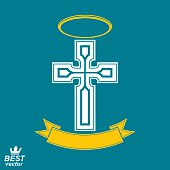 Religious cross emblem with nimbus and decorative ribbon, spirit