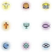 Religious faith icons set, pop-art style