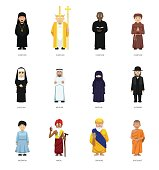 Religious People Cute Cartoon Characters Set