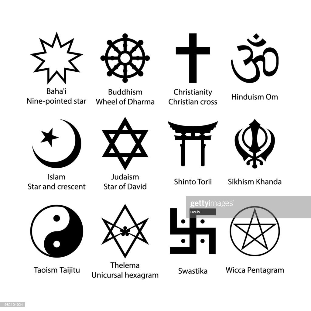 Religious symbols set. Religion signs simple black icon set.