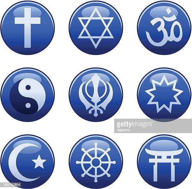 stockillustraties, clipart, cartoons en iconen met religious symbols - boeddhisme