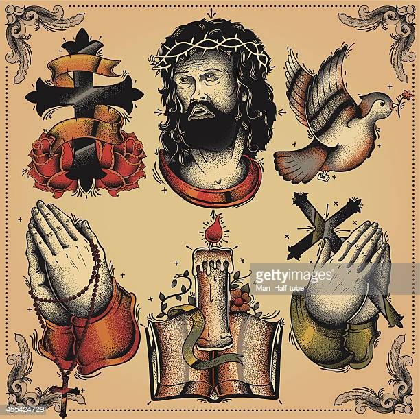 religious tattoo flash - jesus stock illustrations, clip art, cartoons, & icons