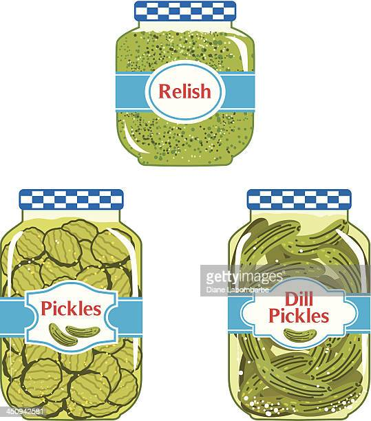 relish & pickles jars - pickled stock illustrations