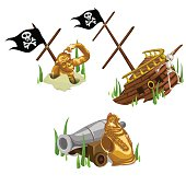 Remains of the ship, gold monkey, skeleton and gun