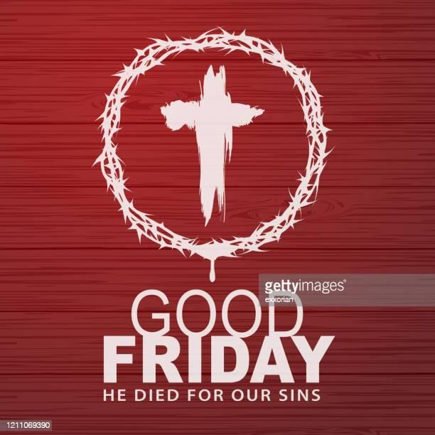 stockillustraties, clipart, cartoons en iconen met denk aan de kruisiging - paaszondag