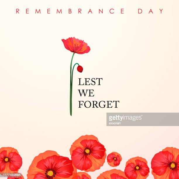 remembrance day lest we forget - memorial event stock illustrations