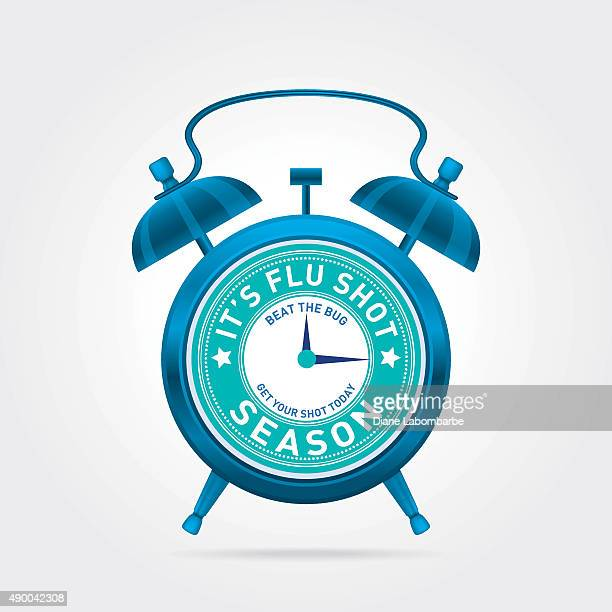 Reminder Clock for Flu Shots on Off-White  Background Poster Template