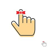 Reminder finger icon vector with red string bow ribbon