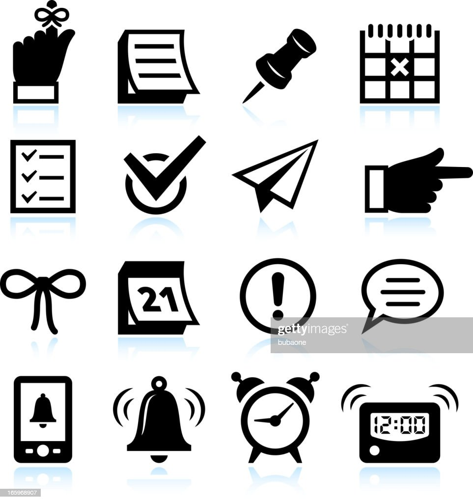 Reminder Icons and Widgets black & white vector icon set
