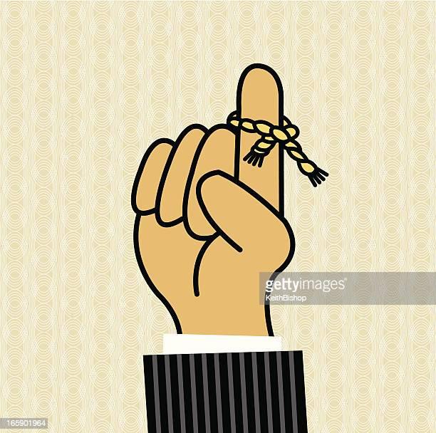 ilustraciones, imágenes clip art, dibujos animados e iconos de stock de recordatorio: cadena de alrededor de dedo - miembro humano