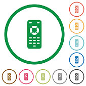 Remote control flat icons with outlines