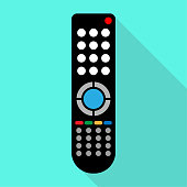 Remote control for TV or media center. Flat icon with long shadow effect.