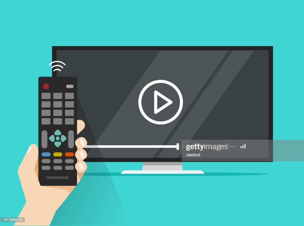 Remote control in hand near flat screen tv watching video film, cartoon design person watching movie or film on television display