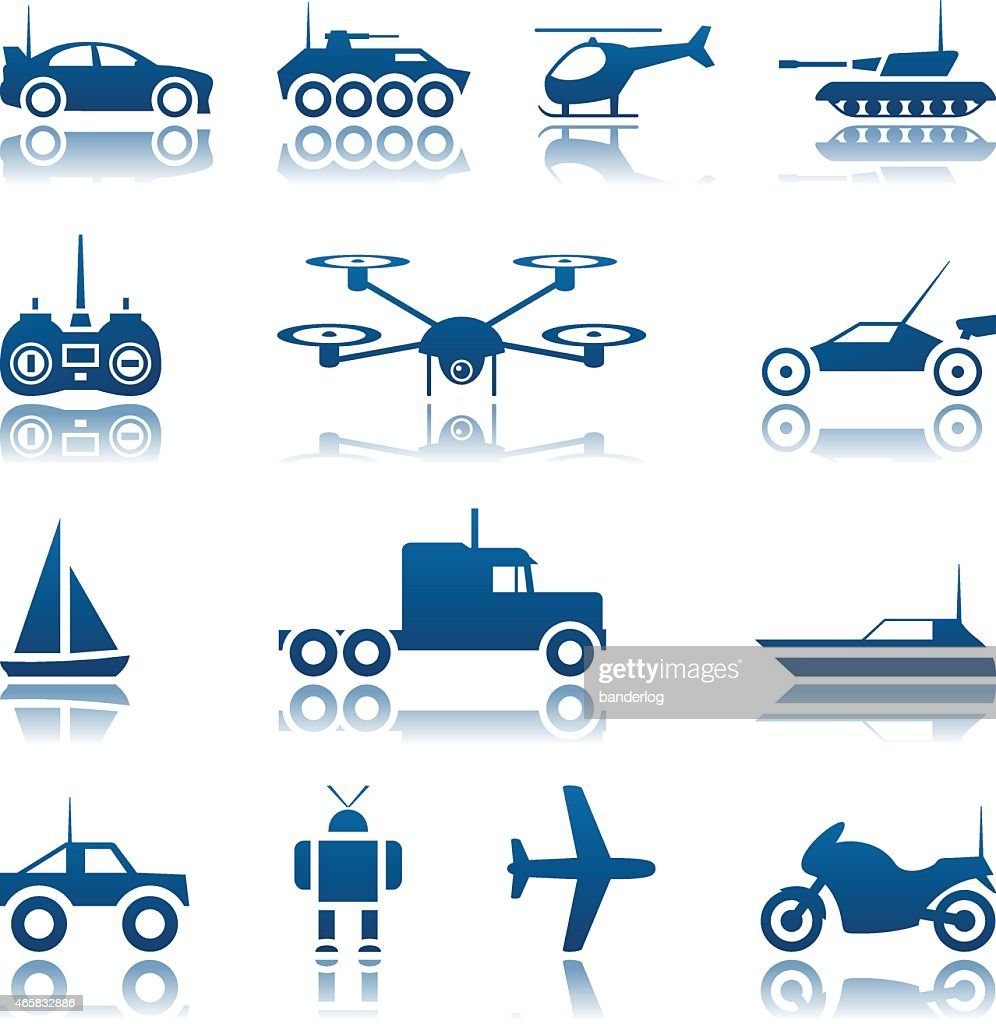 Remote controlled toys icon set