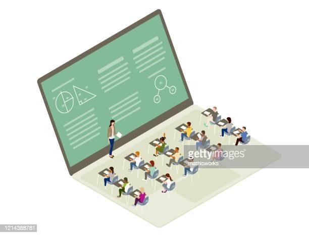 remote learning illustration - stem topic stock illustrations