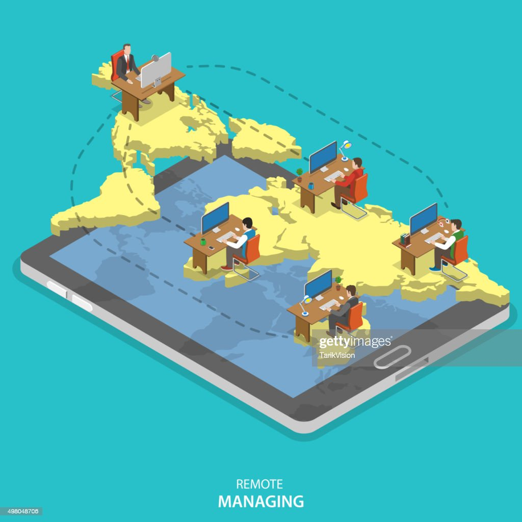 Remote managing isometric flat vector concept.