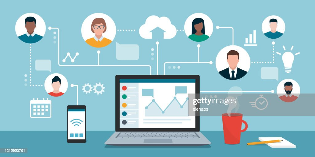 Remote working and virtual business team : Stock Illustration