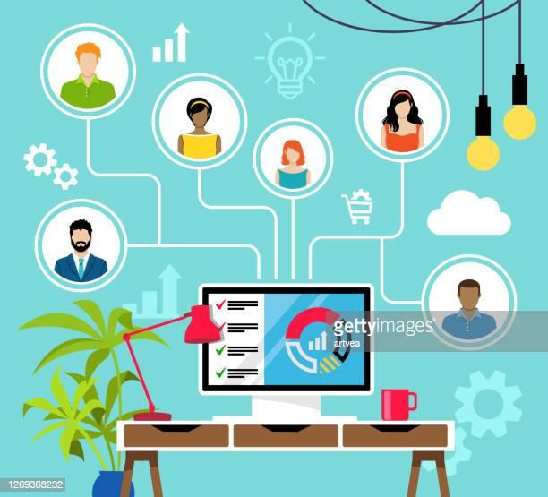 remote working und virtual business team. - unternehmer stock-grafiken, -clipart, -cartoons und -symbole