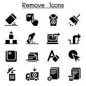 Remove, Erase, Delete icon set