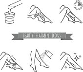 Removing leg hair by using sugaring or strip wax. Beauty treatment icons set