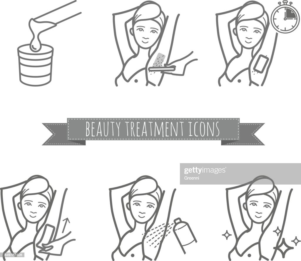 Removing underarms hair by using sugaring or strip wax. Beauty treatment icons set