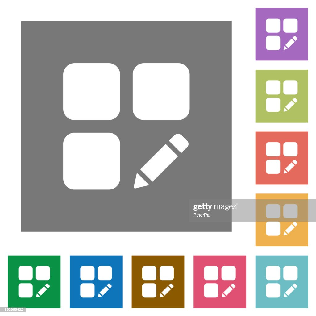 Rename component square flat icons