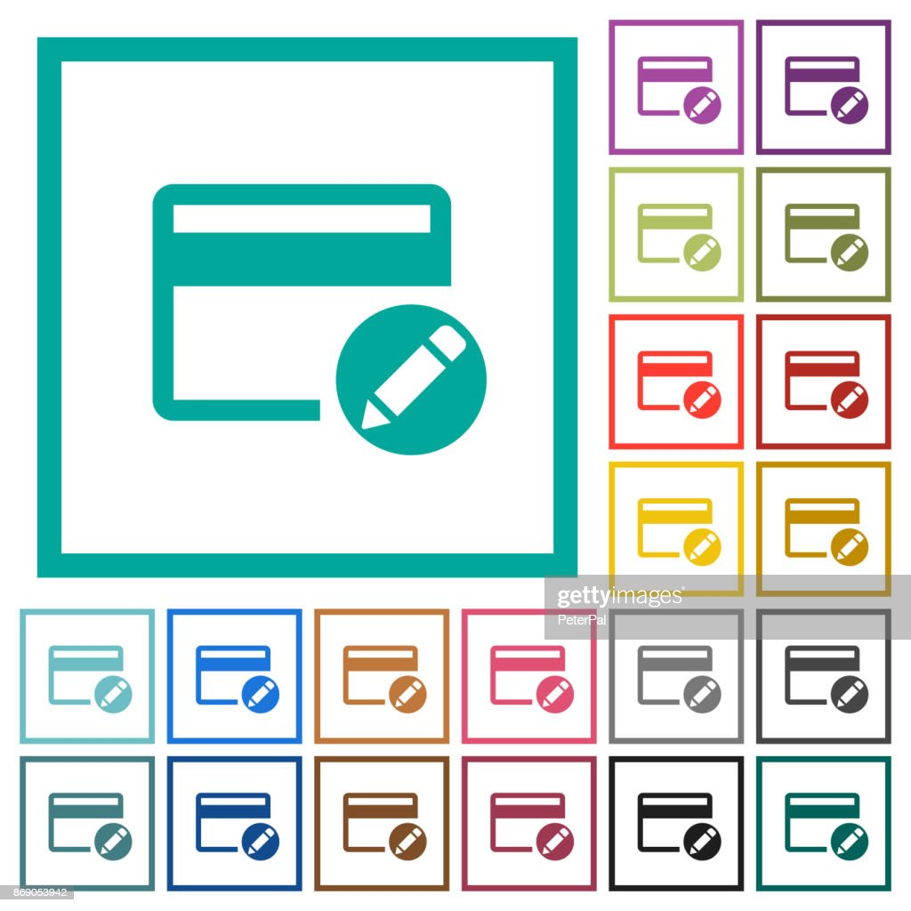 Rename credit card flat color icons with quadrant frames