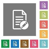 Rename document square flat icons