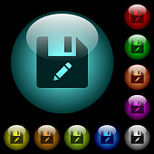 Rename file icons in color illuminated glass buttons