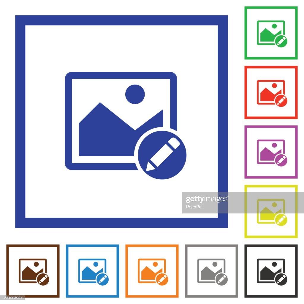 Rename image flat framed icons