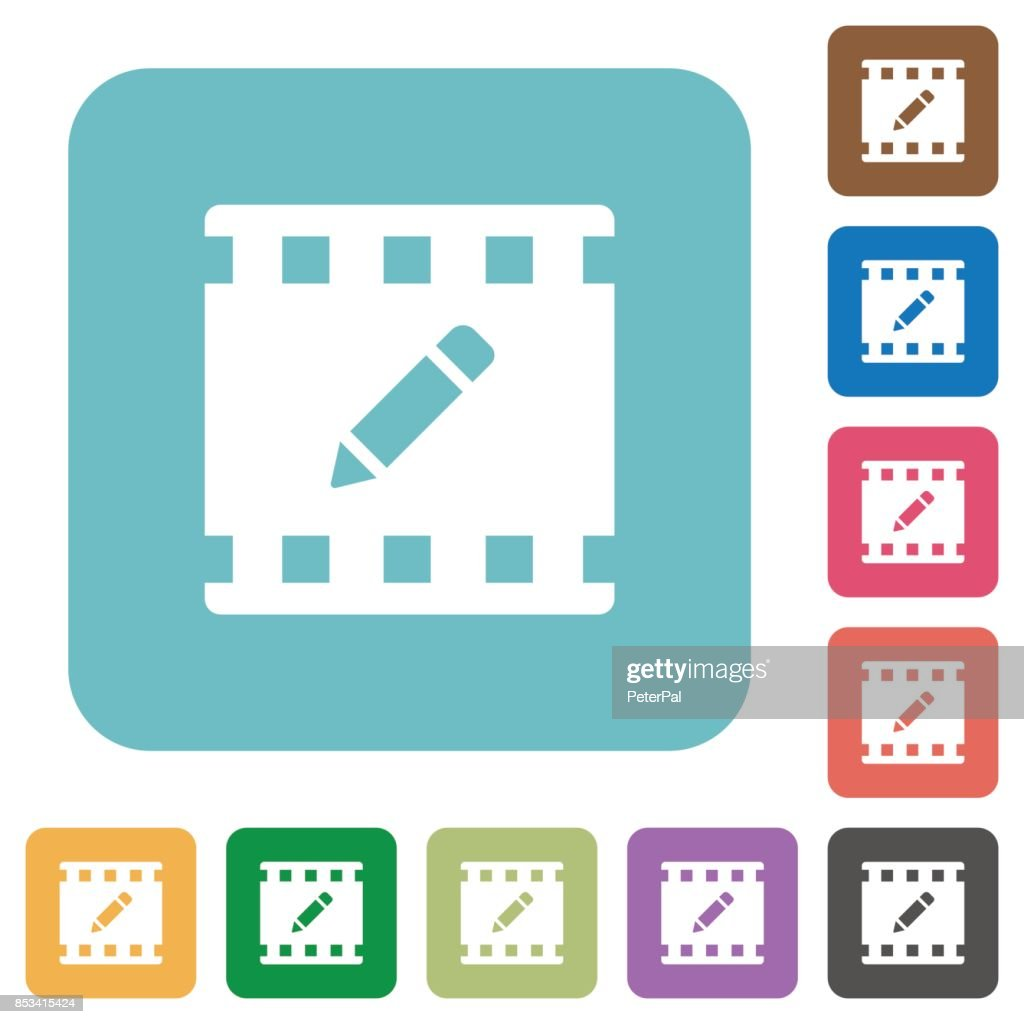 rename movie rounded square flat icons