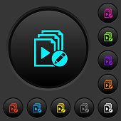 Rename playlist dark push buttons with color icons