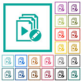 Rename playlist flat color icons with quadrant frames