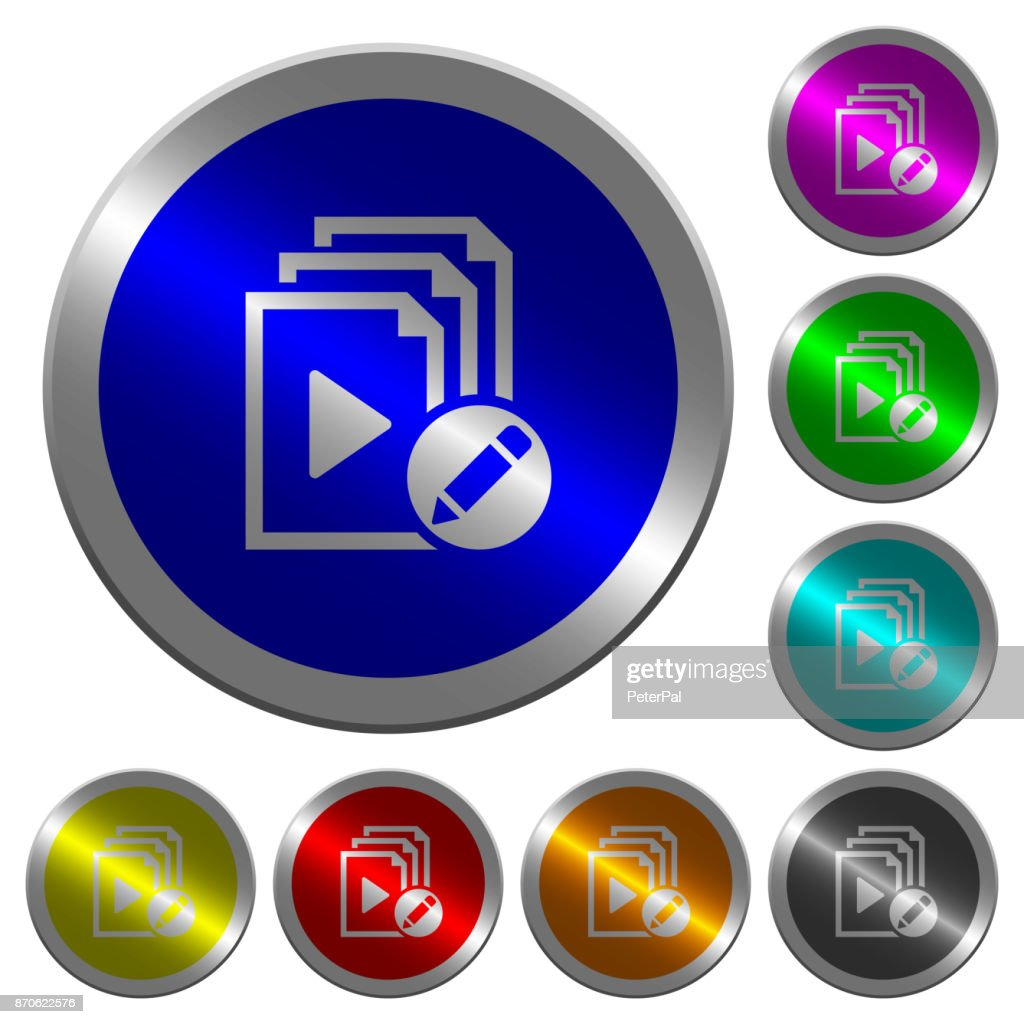 Rename playlist luminous coin-like round color buttons
