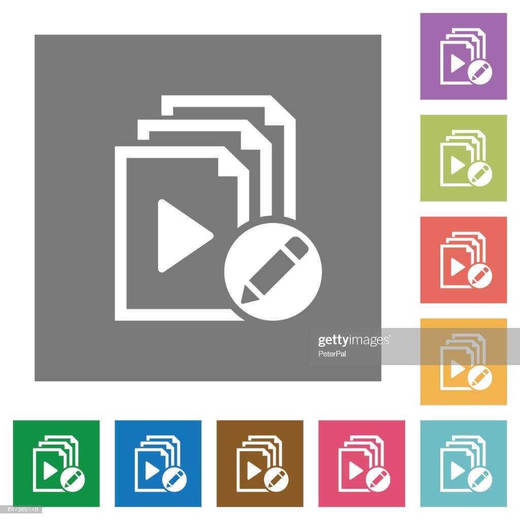 Rename playlist square flat icons