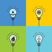 Renewable and clean energy concept with various light bulb design