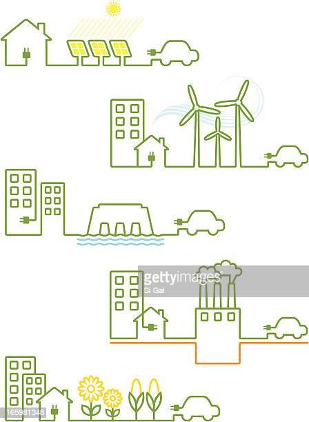 renewable energies - hybrid car stock illustrations, clip art, cartoons, & icons