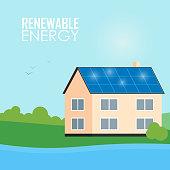 Renewable energy banner. Solar panels on house