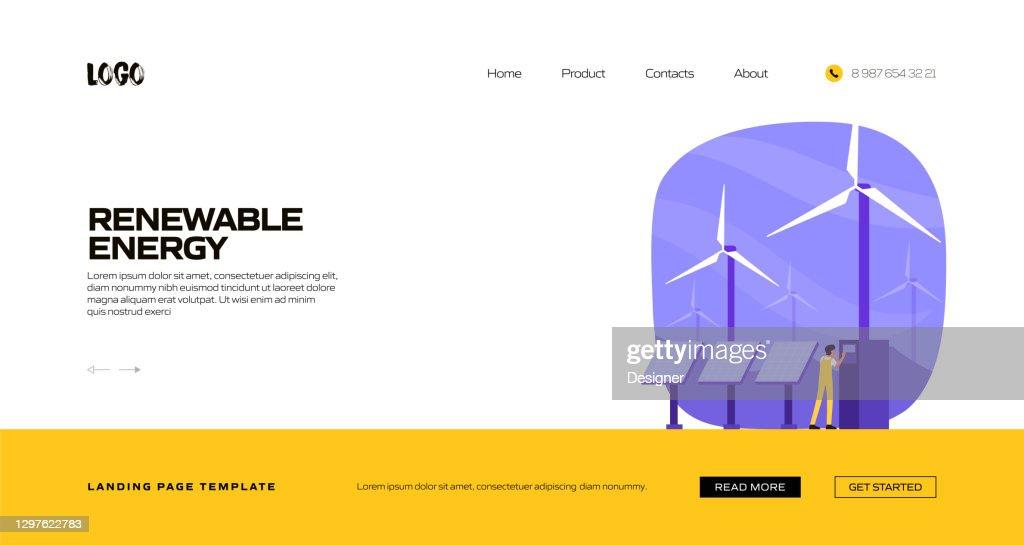 Renewable Energy Concept Vector Illustration For Landing ...