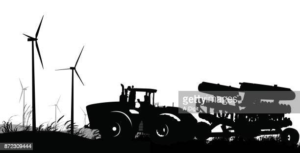 renewable energy farm - harrow agricultural equipment stock illustrations, clip art, cartoons, & icons
