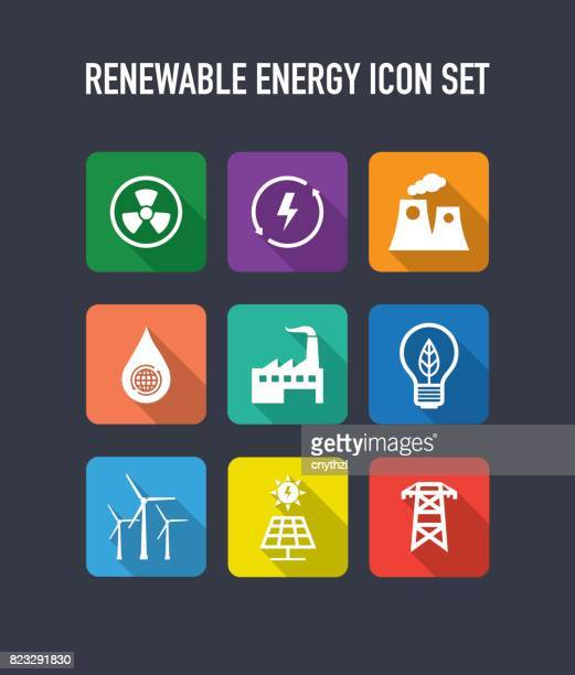 renewable energy flat icons set - receiving stock illustrations