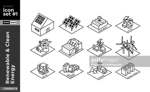illustrazioni stock, clip art, cartoni animati e icone di tendenza di set di icone della linea isometrica energia rinnovabile - città intelligente