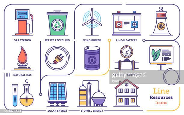 renewable energy management vector flat line icon set - generator stock illustrations