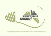 Renewable energy of earth in bulb. The concept of ecology