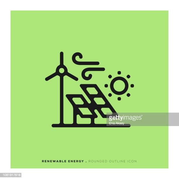 stockillustraties, clipart, cartoons en iconen met hernieuwbare energie afgeronde lijn pictogram - klimaat